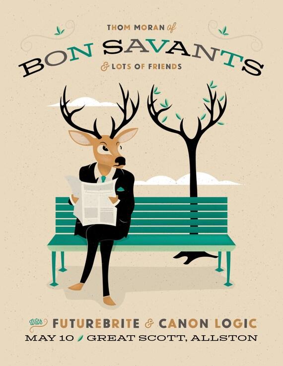 Thom Moran of Bon Savants Gig Poster at Great Scott, Allston, MA