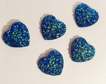 resin druzy, blue druzy, heart, blue druzy heart, cabochon, flatback, decoden, embellishment, druzy heart, blue heart, scrapbooking