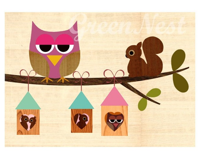 Pink owl sitting on an branch with treehouses and cute squirrel collage poster print