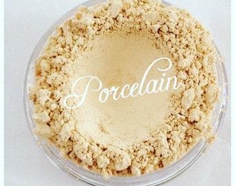 PORCELAIN Foundation Organic Mineral Foundation Gluten free, Vegan with green tea, vitamin e, jojaba oil