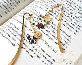 Personalized Initial Bookmark - Market Book - Book Lover - Initial - Custom Jewelry - Dog Lover - Cat Lover - Personalized Gift - Sister D12