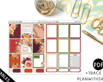 Autumn Garden-Planner Printable Stickers for Erin Condren and A5 planners