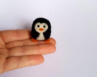 Little needle felted penguin, miniature quirky felt birdie