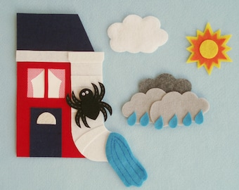 The Itsy Bitsy Spider Felt Board Set/Flannelboard Set/Preschool Songs/Nursery Rhymes/Teacher Resource/Literacy Activity/Circle Time Stories