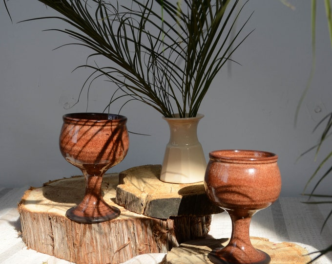 Vintage set of 2 ceramic goblets, wine glasses