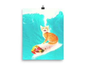 Kitty Cat Surfing Burrito Poster