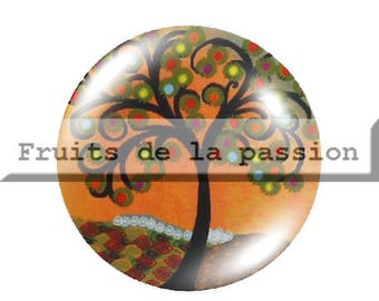 1 cabochon nature, trees, orange, round glass 30mm