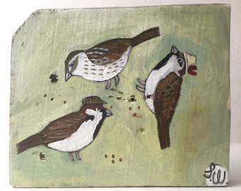 Painting on reclaimed wood of sparrows Sunday lunch