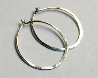 Sterling Silver Hoop Earrings   925 Sterling Silver Hoop Earrings   Sterling Silver Hoops   1 Inch Diameter Hoop Earrings