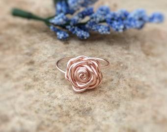 NICKEL FREE Rose Gold Rose Ring, Flower Ring, Rose Gold Ring, Rose Ring, Gift for Her, Mothers Day, Valentine Gift