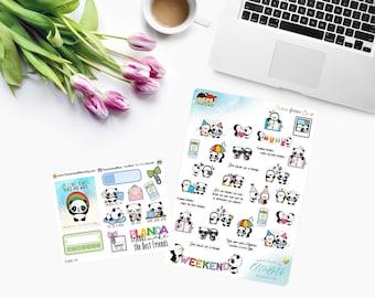 Amanda the Panda & Penguin Joe ~ Collaborative Sheets with EllieBethDesignsUK ~ Planner Stickers CAM PANDA EXCLUSIVE