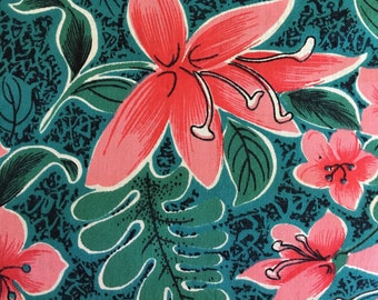 Mid century vintage teal green pink FLOWER print cotton fabric