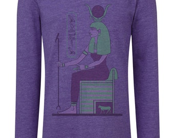 Hathor Kids Vintage short-/long sleeve Shirt - personalized with your name in hieroglyphs