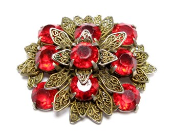 VINTAGE Brooch Filigree Pin RHINESTONE Brooch Layered BROOCH Filigree Jewelry Pot Metal Flower Brooch Floral Jewelry Red Ruby 1930s Jewelry