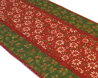 Christmas Holly Table Runner, Quilted Christmas Table Runner, Christmas Decor, Red and Green Table Runner, Christmas Table Quilt