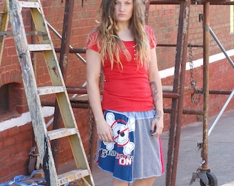 Upcycled graphic t-shirt skirt, size small, medium