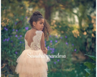 Junior Bridesmaids, Maxi Ivory Blush Tulle Flower Girl, Ballet Ruffle, Princess Tulle Gown, Scallop Lace, Long Flower Girl