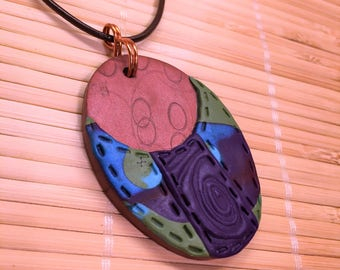 Copper and Purple Clay and Leather Adjustable Oval Necklace Pendant - One of a Kind Jewelry