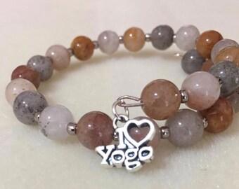 Memory wire gemstone Yoga charm bracelet