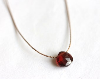 Tiny Garnet Gemstone Necklace, Silk Thread Jewelry, 925 Sterling Silver, Dark Red Gem, January Birthstone