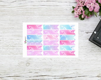 Planner stickers pastell watercolor flags page flags