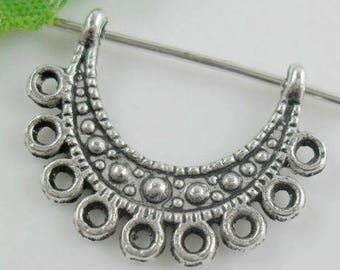 Support balls (x 6) antique silver metal connector