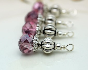 Pink Crystal and Silver Ribbed Bead Earring Dangle, Necklace Pendant, Wedding Jewelry, Bridemaid Charms, Jewelry Making