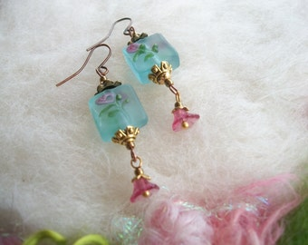 Dainty Lamp Work Beaded Earrings, Powder Blue and Pink Swirly Roses with Tiny Pink Glass Dangle