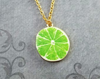 Lime Necklace Lime Jewelry Lime Slice Charm Necklace Green Lime Pendant Necklace Citrus Fruit Necklace Food Jewelry Fruit Jewelry Gift