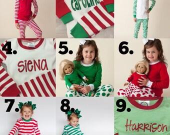 Family Christmas pajamas embroidered sets micro stripe red & white stripes baby toddler kids monogrammed PJs cotton Monogram Xmas pyjama