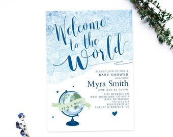 Welcome to the world baby shower invitation | blue water color vintage map design | 5x7 or 4x6 matching party items available | sip and see
