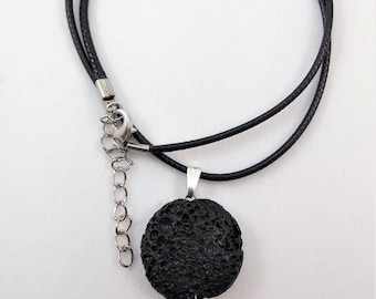 Black Lava and Moon Necklace