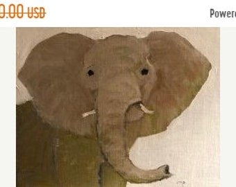 ON SALE Elephant Acrylic Painting 8x10 inches on 1/8 inch cotton Raymar panel, modern impressionist, animal painting, original art, nursery
