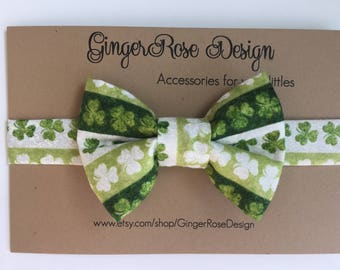 St. Patrick's Day Bow Tie; Shamrock Bow Tie; Lucky Bow Tie; Green and White Bow Tie; Baby Bow Tie; Adjustable Bow Tie; Toddler Bow Tie