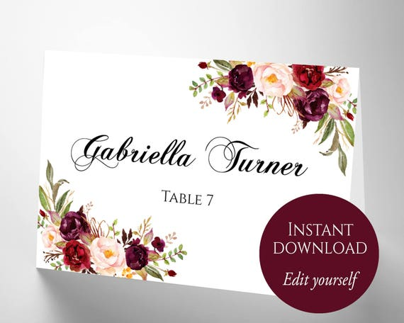 Place Cards Place Cards Wedding Place Card Template PDF - Reserved place card template