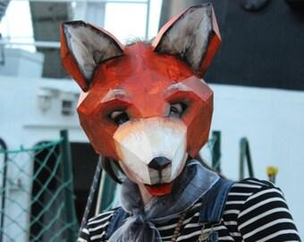 DIY Halloween mask , Fox mask, fox costume, animal mask, PDF Templates, Printable Mask, Halloween mask