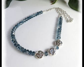 Crystal Necklace with Montana Blend Swarovski crystals, long necklace, Blue crystal necklace, blue jewelry, unique long necklaces,