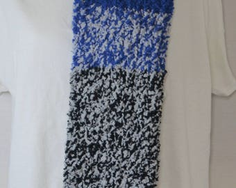 Thick Blue, Black and Grey Scarf
