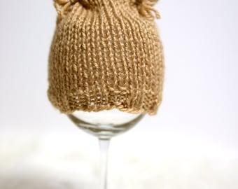 Brown kitten newborn hat hand knit gender neutral photography prop - made to order