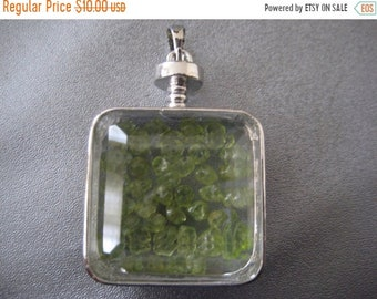 ON SALE 20% OFF Peridot Shaker Silver Plated Pendant 1pc
