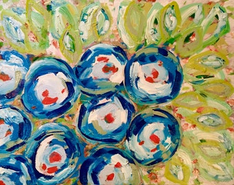 Blue Abstract Floral Painting