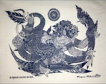Thai traditional art of Hanuman And Naga by printing on Natural colors cloth.(Blue)