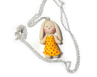 Easter Bunny Necklace, Polymer Clay Bunny, Polymer Clay Jewelry, Polymer Clay Necklace, Cute Animal Jewelry, Easter Bunny, Gift ideas girl