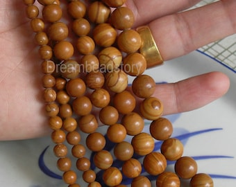 Natural Wood Fossil Jasper Beads, Round 4 6 8 10 12mm Stone Beads Supplies(WM18)