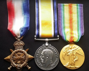WW1 Medals Trio 1914 - 15 Star , British War & Victory Medal New British Repro