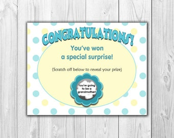 Pregnancy Announcement Scratch Off Card (4 Cards and 4 Envelopes)