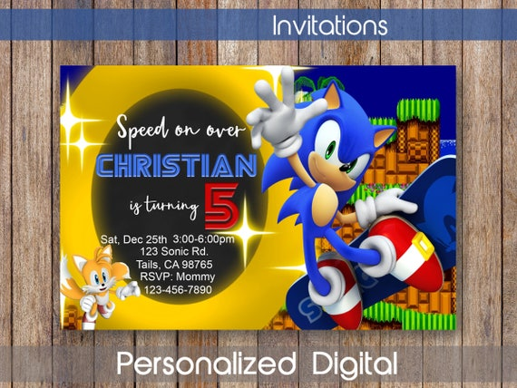 Sonic Invitation Sonic Invitation Sonic Birthday Party Theme