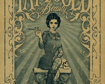 The Amazing Tattooed Beauty Poster. Barnum and Bailey. Freakshow. Freak show. Side show. Carnival. Circus. Art. Print.