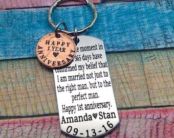 Anniversary Gift, Year anniversary, Gift For Husband, 1st Wedding anniversary, gift for men, 1 year wedding anniversary, custom key chain