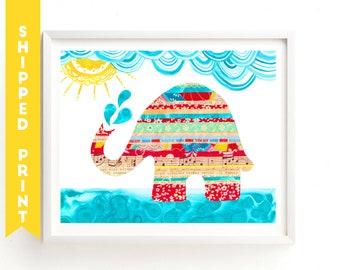 PRINT Elephant print, Elephant Art, Nursery Wall Art, Elephant kids art, baby art print